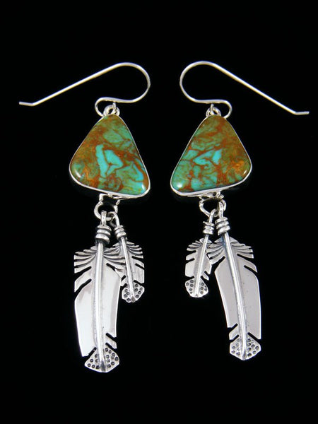 Navajo Kingman Turquoise Sterling Silver Feather Dangle Earrings