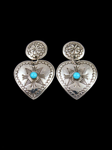Native American Jewelry Stamped Turquoise Heart Earrings