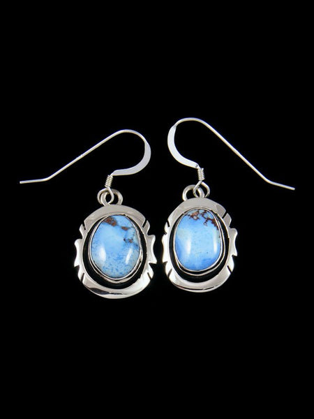 Navajo Golden Hill Turquoise Sterling Silver Dangle Earrings