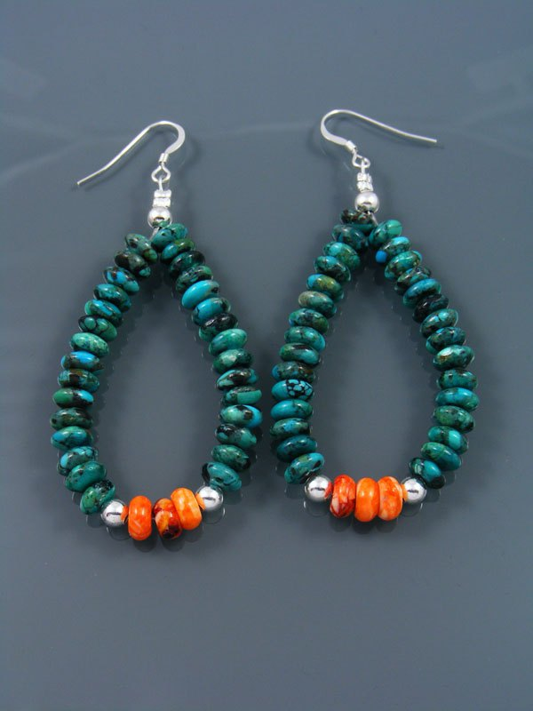Navajo Turquoise and Sterling Silver Bead Dangle Earrings