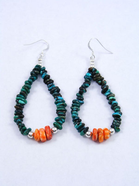 Navajo Turquoise and Spiny Oyster Beaded Dangle Earrings