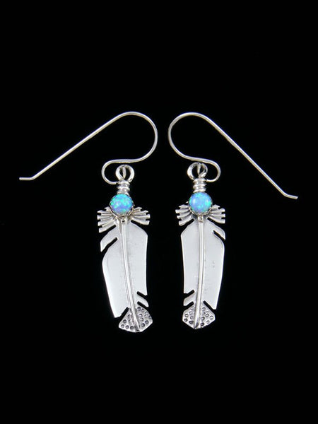 Navajo Sterling Silver and Opal Feather Earrings