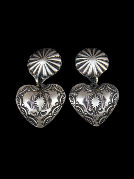 Stamped Navajo Sterling Silver Heart Post Earrings