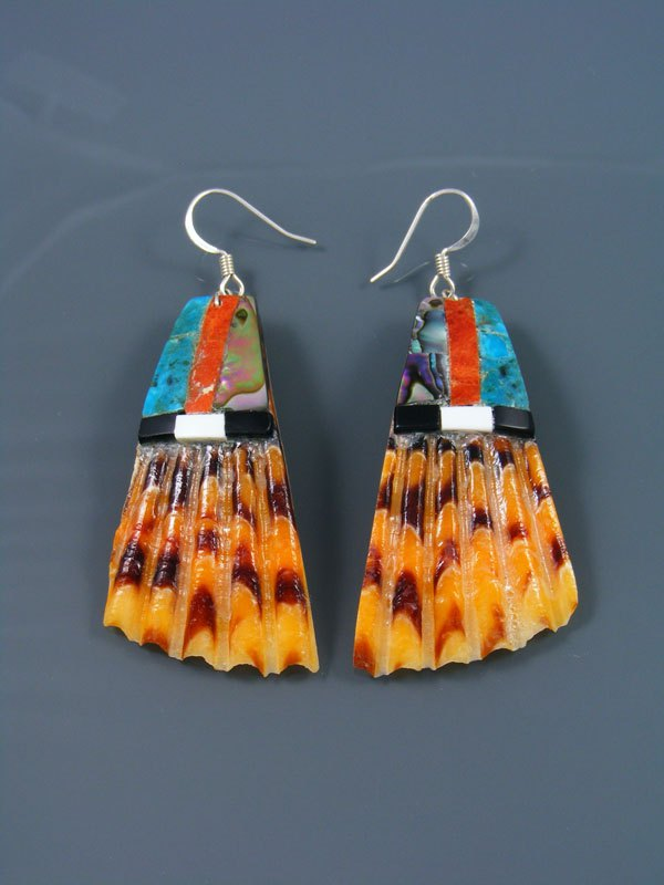 Apple Coral and Turquoise Santo Domingo Inlay Earrings