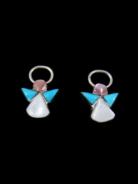 Mother of Pearl Zuni Inlay Angel Post Earrings
