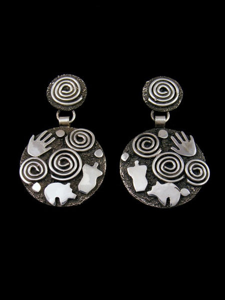 Navajo Sterling Silver Petroglyph Post Earrings