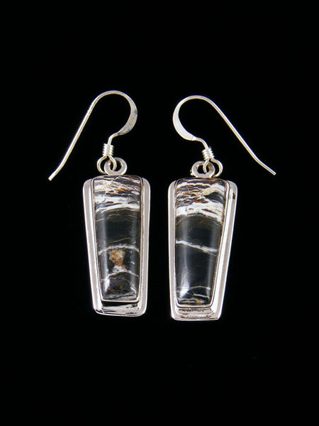 Native American White Buffalo Sterling Silver Dangle Earrings