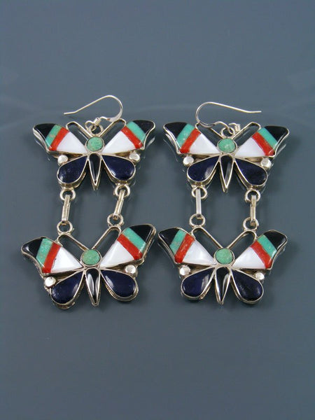 Zuni Inlay Turquoise and Coral Butterfly Dangle Earrings