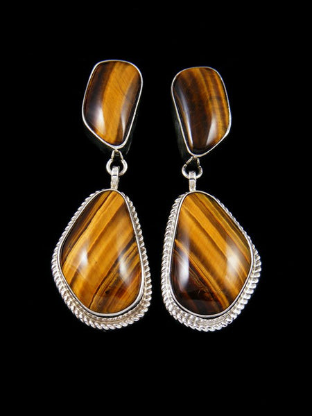 Navajo Tigers Eye Sterling Silver Post Earrings
