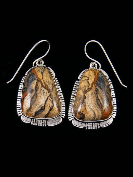 Navajo Sandstone Jasper Sterling Silver Dangle Earrings