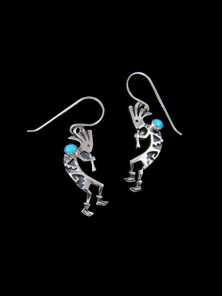 Navajo Sterling Silver Kokopelli Dangle Turquoise Earrings
