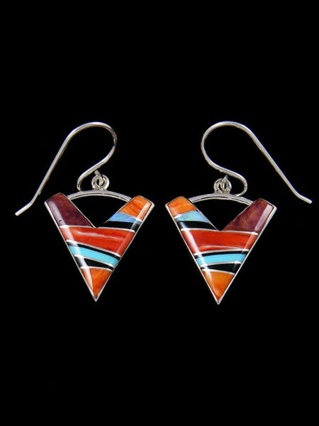 Navajo Sterling Silver Turquoise and Spiny Oyster Inlay Dangle Earrings