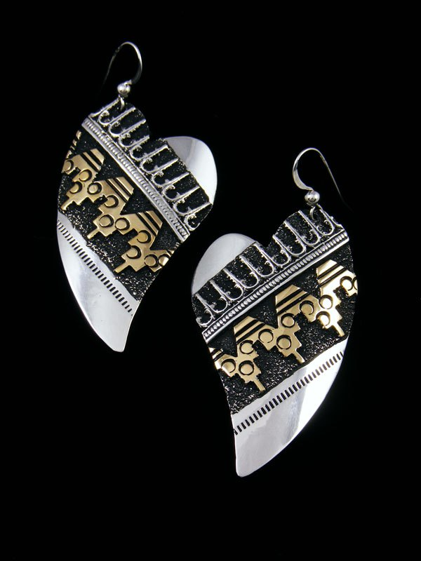 Navajo Sterling Silver and Gold Overlay Dangle Heart Earrings