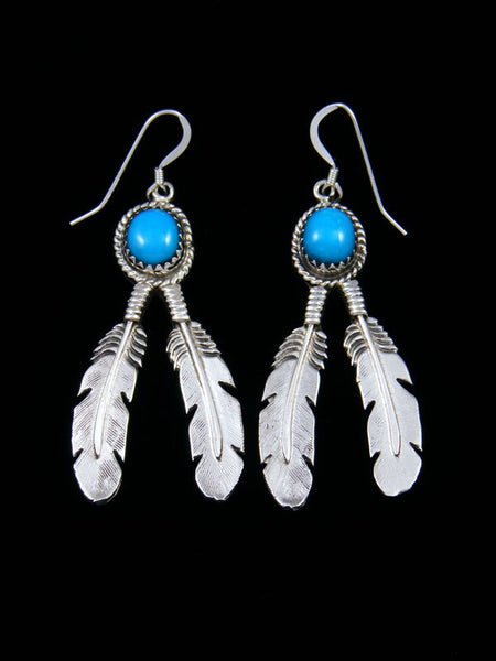 Double Feather Turquoise Dangle Earrings