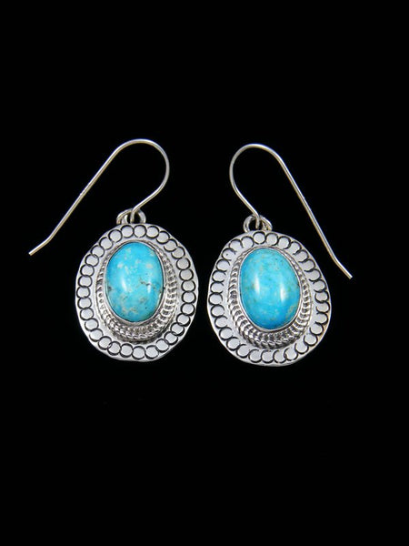 Kingman Turquoise Sterling Silver Dangle Earrings