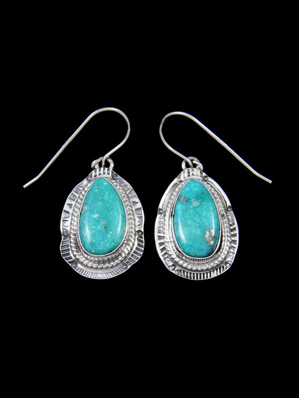 9befdebe0 Kingman Turquoise Sterling Silver Dangle Earrings by Tommy Secatero ...