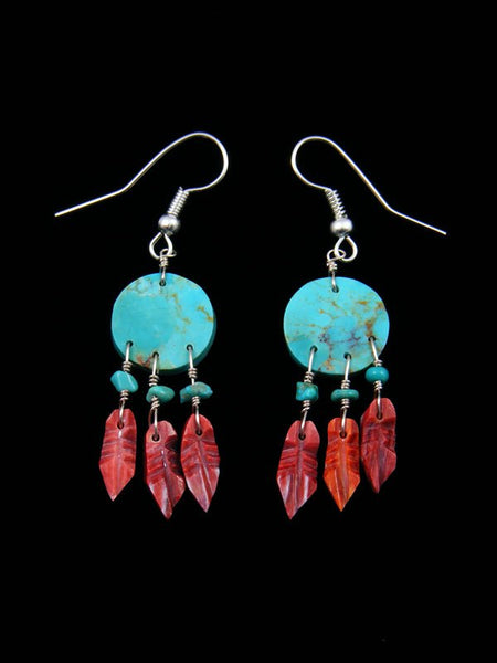 Navajo Spiny Oyster and Turquoise Dreamcatcher Earrings