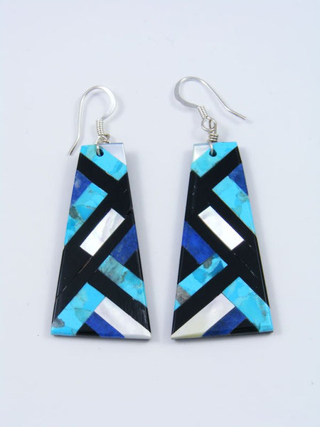 Turquoise, Jet, and Lapis Santo Domingo Inlay Earrings