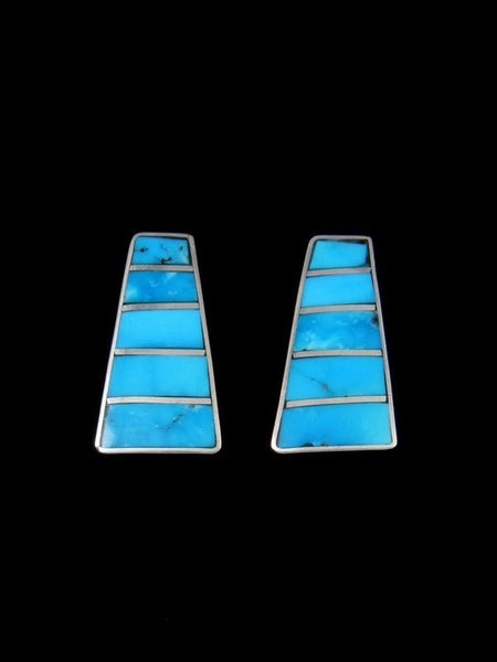 Zuni Inlay Turquoise Post Earrings
