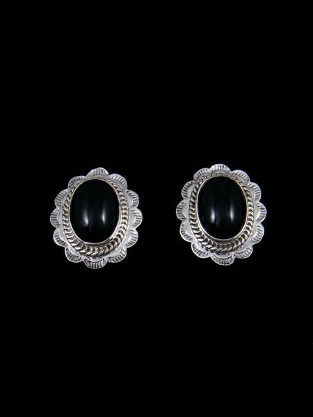 Navajo Sterling Silver Black Onyx Post Earrings