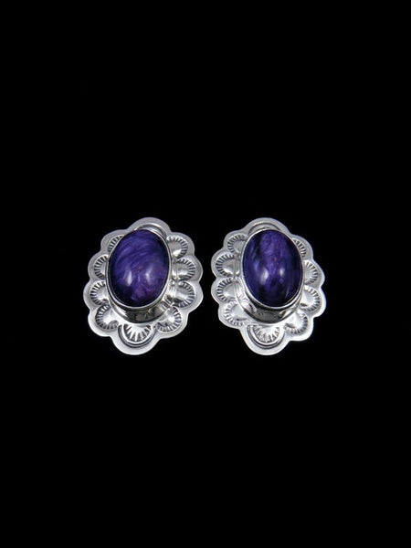 Navajo Sterling Silver Purple Charoite Post Earrings