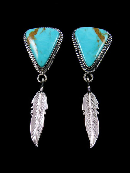 Navajo Kingman Turquoise Sterling Silver Feather Post Earrings