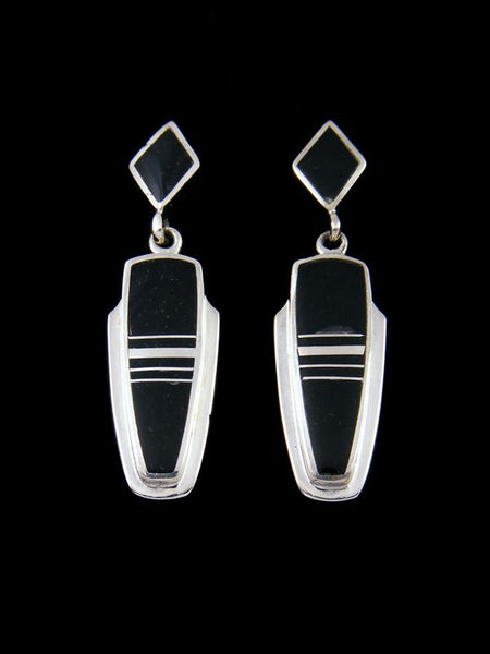 Navajo Black Onyx Inlay Post Earrings