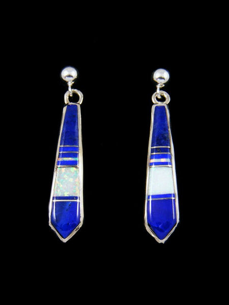 Navajo Inlay Lapis and Opalite Post Earrings