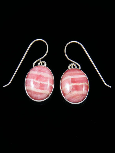 Navajo Sterling Silver Rhodochroscite Dangle Earrings