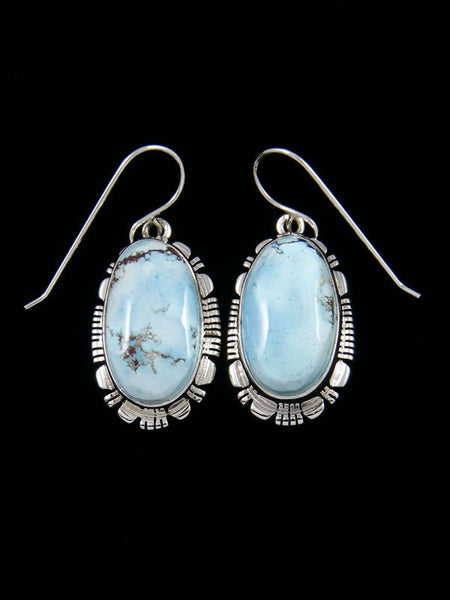Native American Sterling Silver Golden Hill Turquoise Dangle Earrings