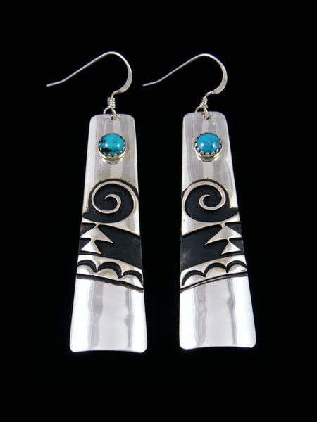Navajo Sterling Silver Overlay Turquoise Dangle Earrings