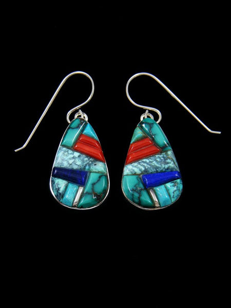 Turquoise and Coral Multi-Stone Inlay Earrings