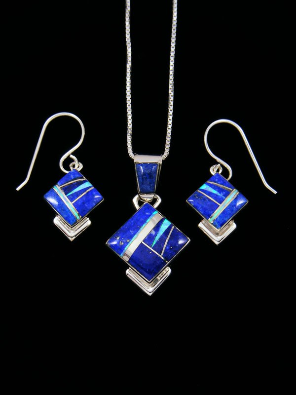 Opalite and Lapis Navajo Inlay Necklace Set