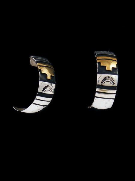 Navajo Sterling Silver and Gold Post Overlay Earrings