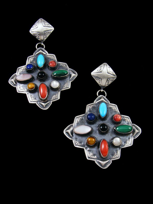 Navajo Turquoise and Coral Sterling Silver Post Earrings