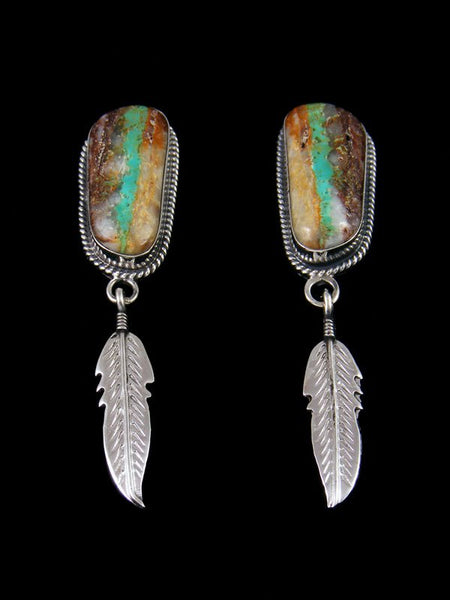 Navajo Royston Ribbon Turquoise Sterling Silver Post Earrings