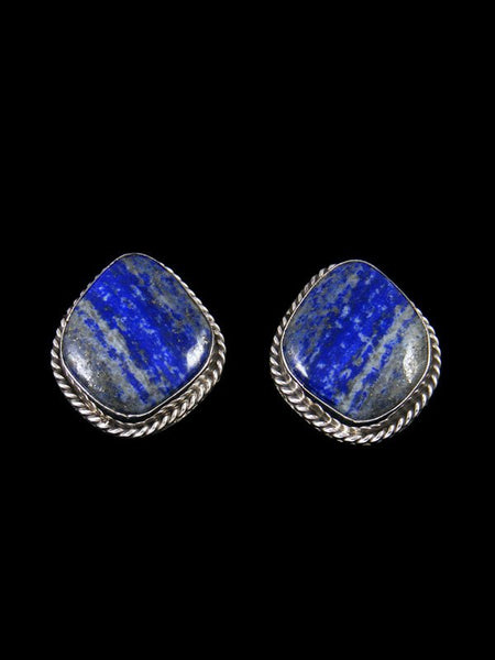 Native American Sterling Silver Lapis Post Earrings