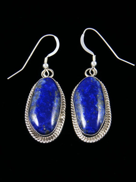 Navajo Lapis Sterling Silver Dangle Earrings