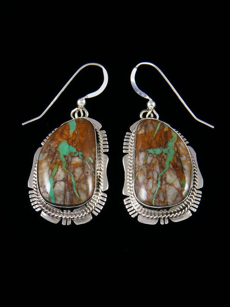 Navajo Boulder Turquoise Sterling Silver Dangle Earrings