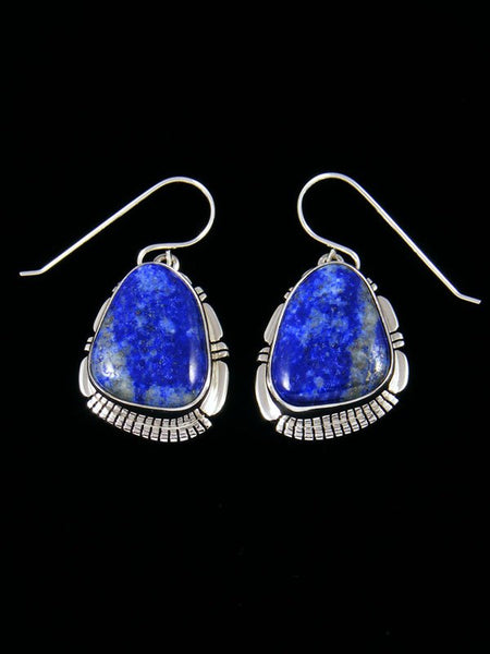 Native American Sterling Silver Lapis Dangle Earrings
