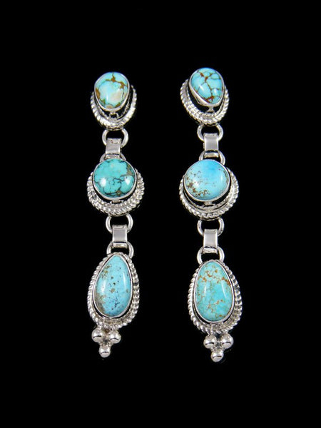 Navajo Sterling Silver Natural Number 8 Turquoise Post Earrings
