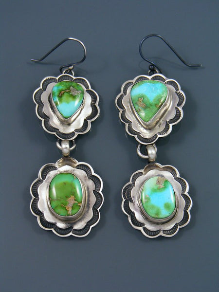 Native American Sterling Silver Sonoran Gold Turquoise Dangle Earrings