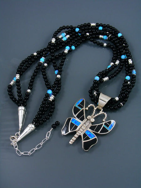 Navajo Jet and Opal Inlay Butterfly Necklace