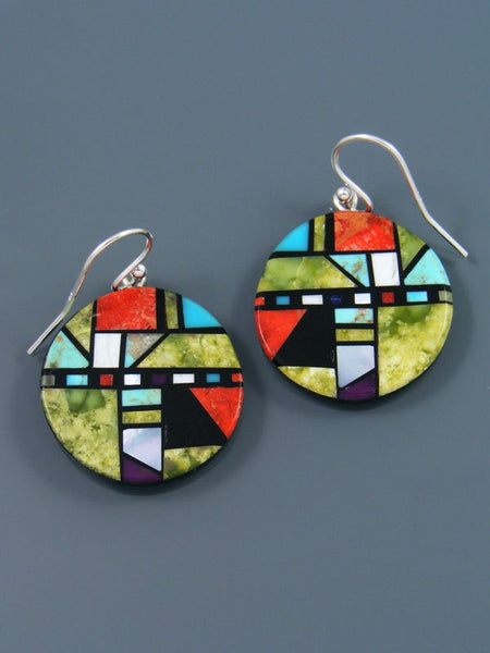 Santo Domingo Mosaic Inlay Serpentine Dangle Earrings