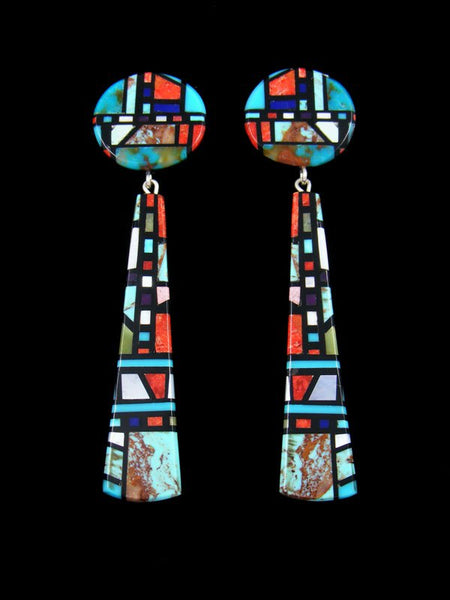 Santo Domingo Mosaic Inlay Turquoise Post Earrings