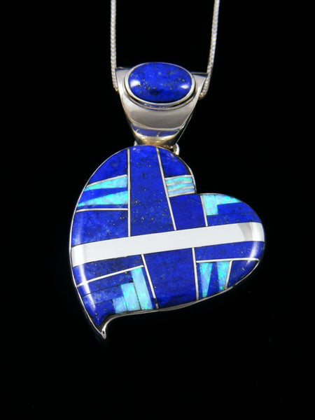Large Navajo Inlay Lapis and Opalite Heart Pendant