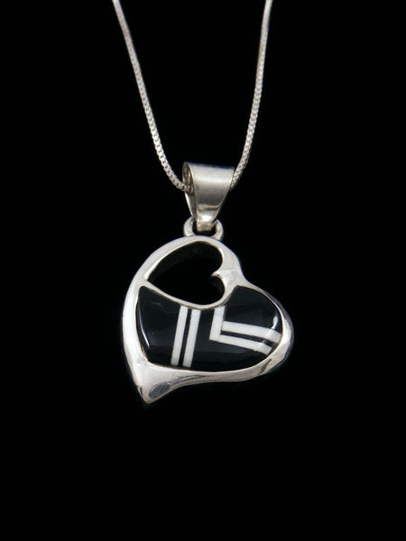 Navajo Inlay Onyx and Shell Sterling Silver Heart Pendant