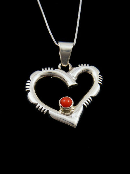 Native American Sterling Silver Coral Heart Pendant