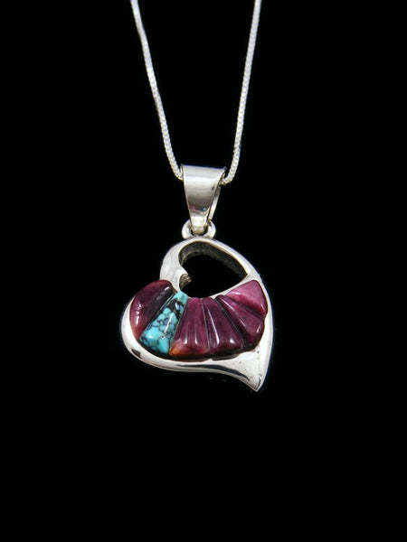 Native American Spiny Oyster and Turquoise Inlay Heart Pendant