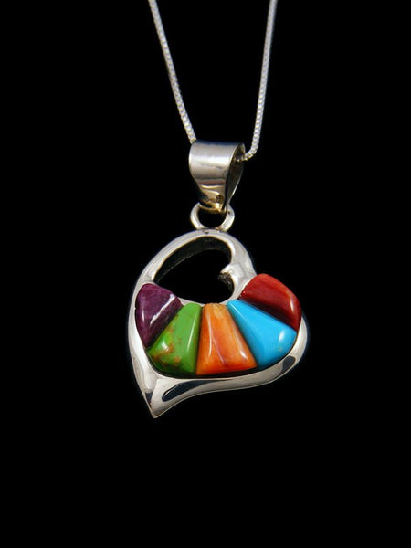 Navajo Cornrow Inlay Multistone Sterling Silver Heart Pendant